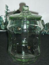 Vtg Green Uranium Depression Glass Ribbed Cookie Jar