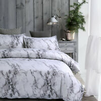 Marble Floral Single Double Queen King Size Doona Duvet Quilt Cover Bedding Grey