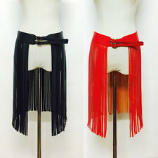 Women Fringe Skirt Tassels Faux Leather Sheer PU Adjustable Buckle Waistband Red