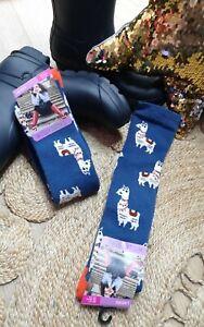 FUN NOVELTY BLUE LLAMA LONG WELLY BOOT SOCKS 1 Pair Warm Cosy Soft Size4-7