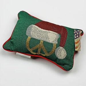 Christmas Peace ~ Peace Symbol & Santa Hat Tapestry Word Pillow