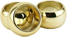 6 Gold Fun Elegant Reusable Round Plastic Napkin Rings