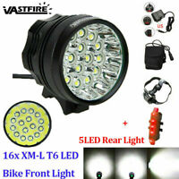 Rechargeable 60000Lm 16x XML T6 LED Head Front Bicycle Light Headlight Taillight