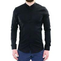 Camicia Uomo Collo Coreana Slim Fit Serafino Nera Cotone Casual Classica