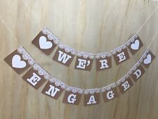 Engagement Party Decoration Rustic Vintage Engaged Bunting Banner Sign Lace