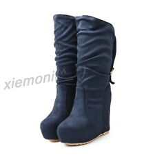 Women Pull On Faux Suede Wedge Mid CALF Boot Platform Winter Buckle Shoes Slouch