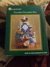 Nib Traditions Porcelain Decorative Christmas Nutcracker Keepsake Trinket Box
