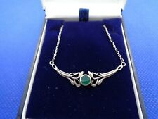 VINTAGE STERLING SILVER & CHRYSOPRASE CELTIC PENDANT NECKLACE