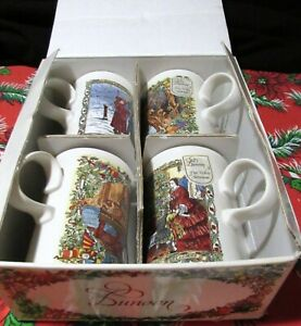 DUNOON BOXED SET OF 4 CHRISTMAS CHEER FINE WHITE STONEWARE MUGS M I SCOTLAND