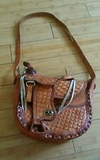 EXC Vintage Hand Tooled Leather Mexico Horse Saddle Purse Bag Brown Chestnut