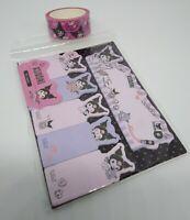Sanrio Kuromi My Melody Sticky Note Marker + Marking Tape Stationary