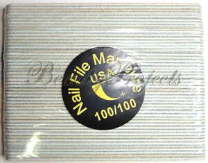 50pcs Mini Manicure Nail File Zebra 100/100 Grit Wood Center 13cm Travel Size