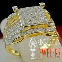 925 Silver Engagement Ring 14k Yellow Gold Finish Bridal Lab Diamond Square Ring
