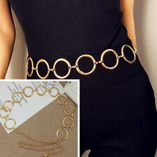 Vintage Gold Circle Waistband Metal Waist Chain Belt Wide Dress High Waist Hip