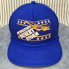 331 Vtg Operation Desert Storm Snapback BLUE Trucker Hat 90s Baseball Cap SADDAM