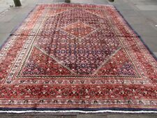 Vintage Hand Made Traditional Rugs Oriental Wool Blue Large Carpet 398x296cm