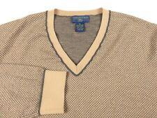 Joseph & Lyman mens cashmere sweater XL X Large V neck diamond pattern soft cozy