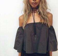 Free~People 100% Leather choker wrap lariat necklace with Silver SPIKES NEW