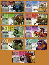 POLYMER SET 9 Kamberra Banknotes, Chinese Zodiac Lunar Calendar, 2009-2017
