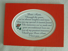 AUNT Shared MEMORIES LOVE Laughter TRUST Greatest TREASURE verses poems plaques