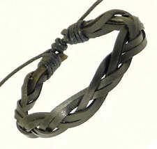 Black Leather Plaited Strap & Cord Leather Bracelet / Wristband / Surf Bracelet