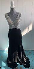 Dylan Queen Limited Black Sheer Floor Length Beaded Formal Dress Open Back Sz 2