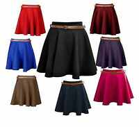 A47 Womens Girls Short Skirt Skater Belted Stretch Waist Plain Flippy Flared Jer