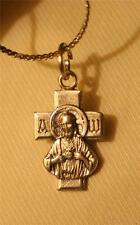 Handsome Petite Sacred Heart of Jesus Our Lady of Carmel Cross Pendant Necklace