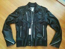 DIESEL LIROY BLACK LAMBSKIN CAFE RACER MOTORCYCLE JACKET XXL LEATHER BIKER jeans