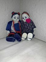 Vintage Chinese Boy & Girl Dollsw/Blue White Porcelain Head, Hands and Feet