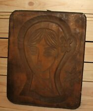 Vintage abstract hand carving wood wall hanging plaque girl portrait