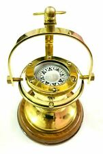 Vintage Gimbled Brass Compass~Nautical Gimble Compass on Wooden Base