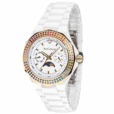 Yves Camani Laval Ladies Watch White Ceramic Moon Phase Rainbow Crystals New