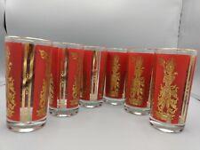 VTG set of 6 1960 Mid Century Culver Red Gold Siam Thai Goddess Drinking Glasses