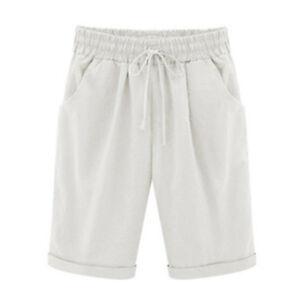 Women Loose Shorts Bermuda Trouser Summer Beach 3/4 Cropped Capri Pants Casual