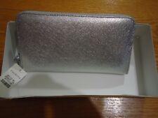 Talbots Silver Metallic Zipper Wallet- NWT