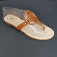 Vince Camuto Size 8.5 M BRAIDA Brown Leather Thong Sandals Slip On Flats