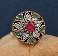 Ruby Gemstone Turkish Boho Womens Ring Size 7 Solid 925 Sterling Silver Jewelry