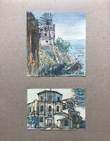 Georg Schott *1906 Küste Palme Häuser Mittelmeer Kirche Italien? Frankreich?