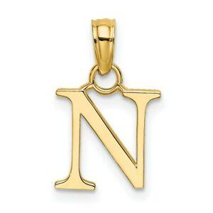 14K Yellow Gold Polished N Block Initial Pendant