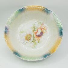 *Vintage* Large Iridescent Serving Bowl Floral Germany Green Teal Gold