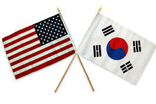 "12x18 12""x18"" Wholesale Combo USA American & South Korea Stick Flag"