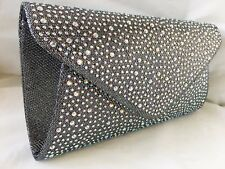 NEW GOLD SILVER BRONZE PINK NAVY FUCHSIA GLITTER & DIAMANTE EVENING CLUTCH BAG