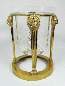 "Vintage Brass Lion Head Stand & Cut Glass Pillar Candle Holder  7""x 6"""