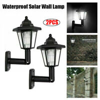 2Pcs Waterproof Solar Power LED Wall Mounted Light Hexagonal Outdoor Garden Lamp