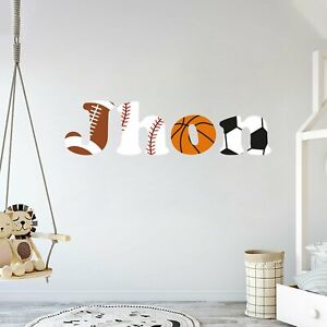 Customize Name Sport Teams Balls Wall Decal for Decoration Nursery Wall Decal.