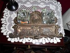 ANTIQUE: large ornate victorian brass inkwell ink desk top writing pen crystal/