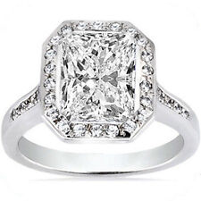 2.03 ct center Radiant cut Diamond Solitaire Halo Engagement Ring 14k White Gold