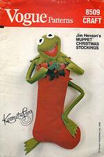 "1980's VTG VOGUE Muppet Kermit The Frog Stocking Pattern 8509 Size 23"" high"