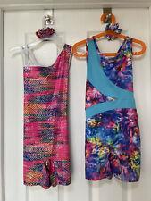 Two Danskin Now Girls Biketard Gymnastics Leotards W/scrunchies- Medium 7/8-Vguc